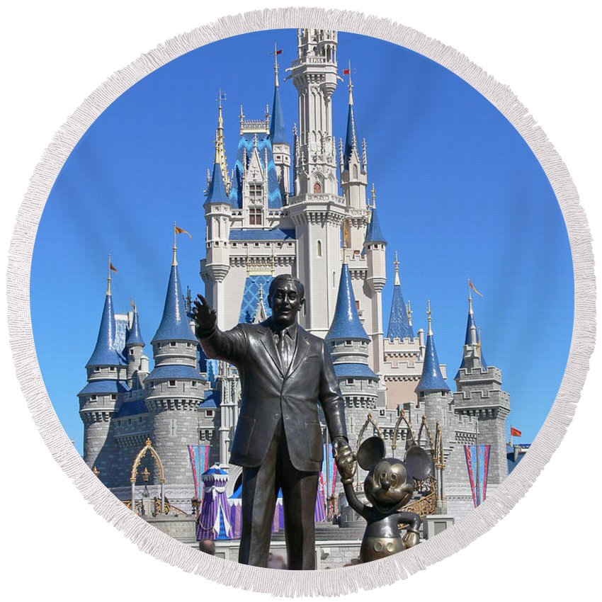 Walt Round Beach Towel featuring the photograph Disney And Mickey by Kevin Fortier