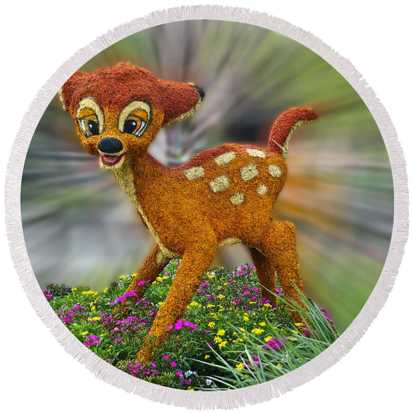 Fantasy Round Beach Towel featuring the photograph Disney Floral Bambi by Thomas Woolworth
