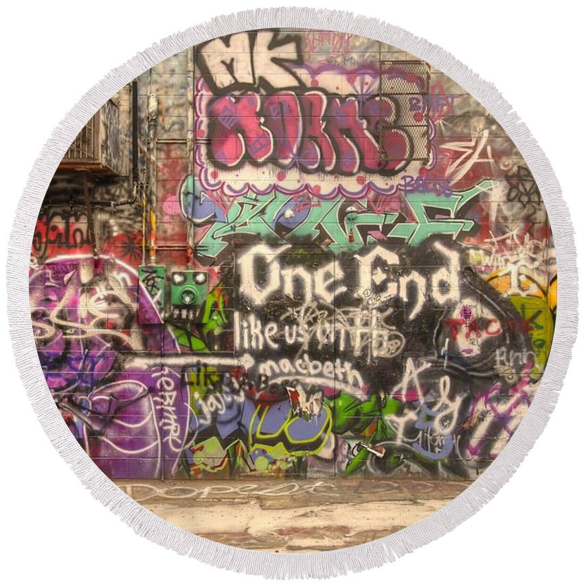 Graffiti Round Beach Towel featuring the photograph Disorderly Conduct by Anthony Wilkening