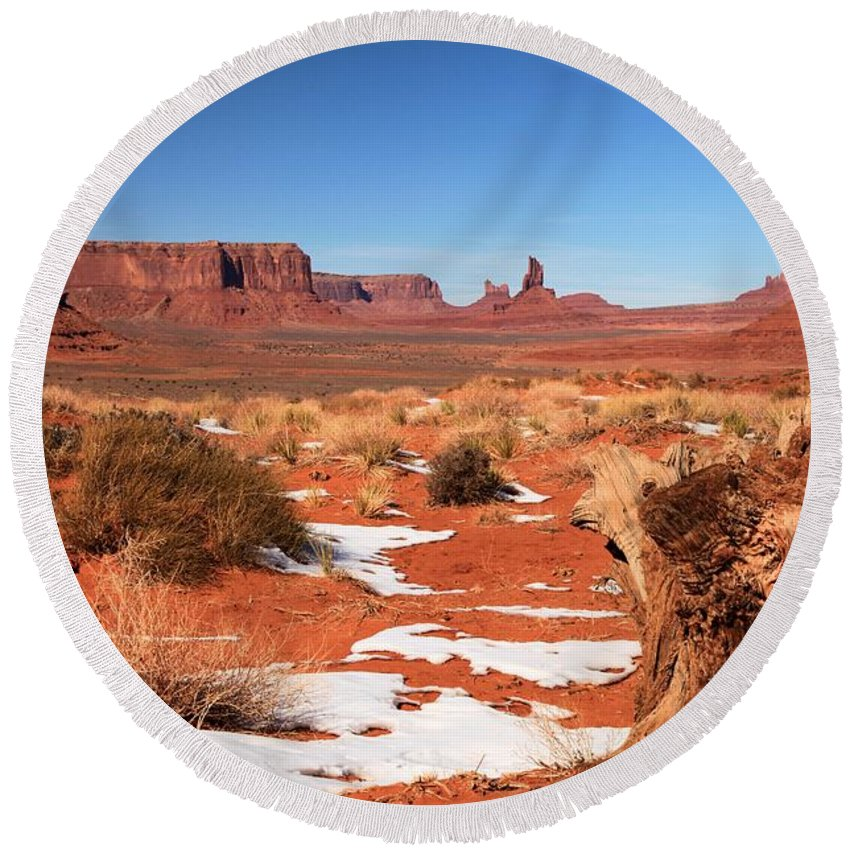 Monument Valley Round Beach Towel featuring the photograph Distant Towers by Adam Jewell