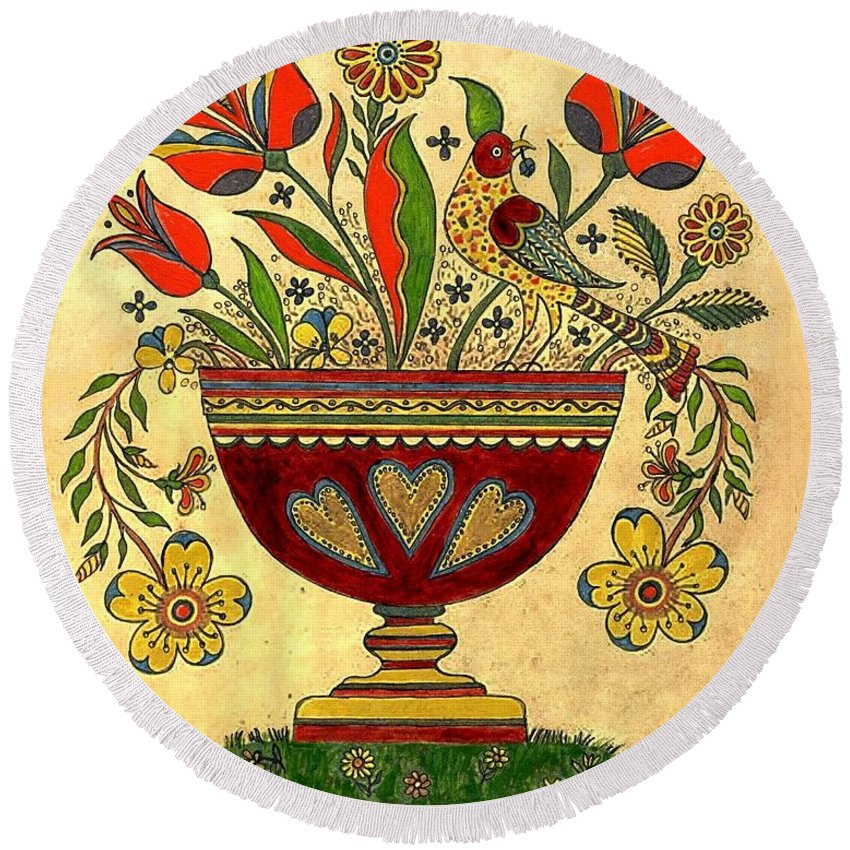 Folk Art Round Beach Towel featuring the painting Distelfink With Flowers by Joan Shaver