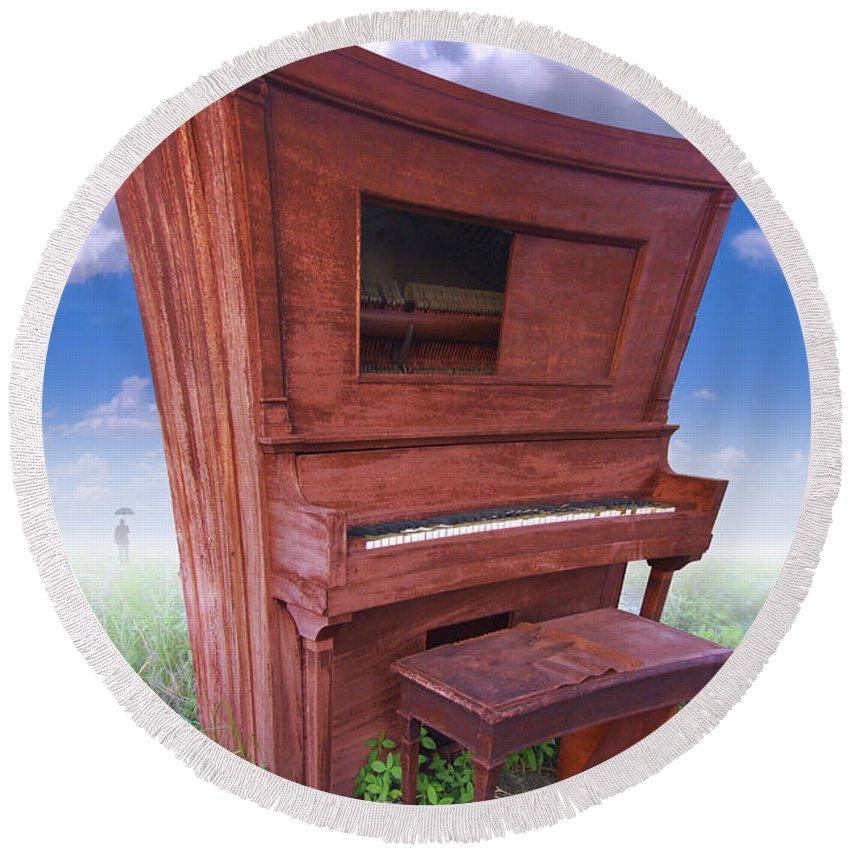 Distorted Upright Piano Round Beach Towel featuring the photograph Distorted Upright Piano by Mike McGlothlen