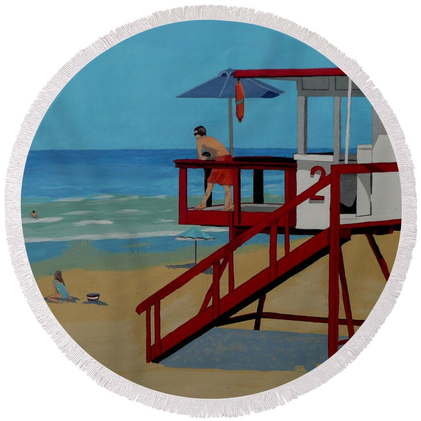 Lifeguard Round Beach Towel featuring the painting Distracted Lifeguard by Anthony Dunphy
