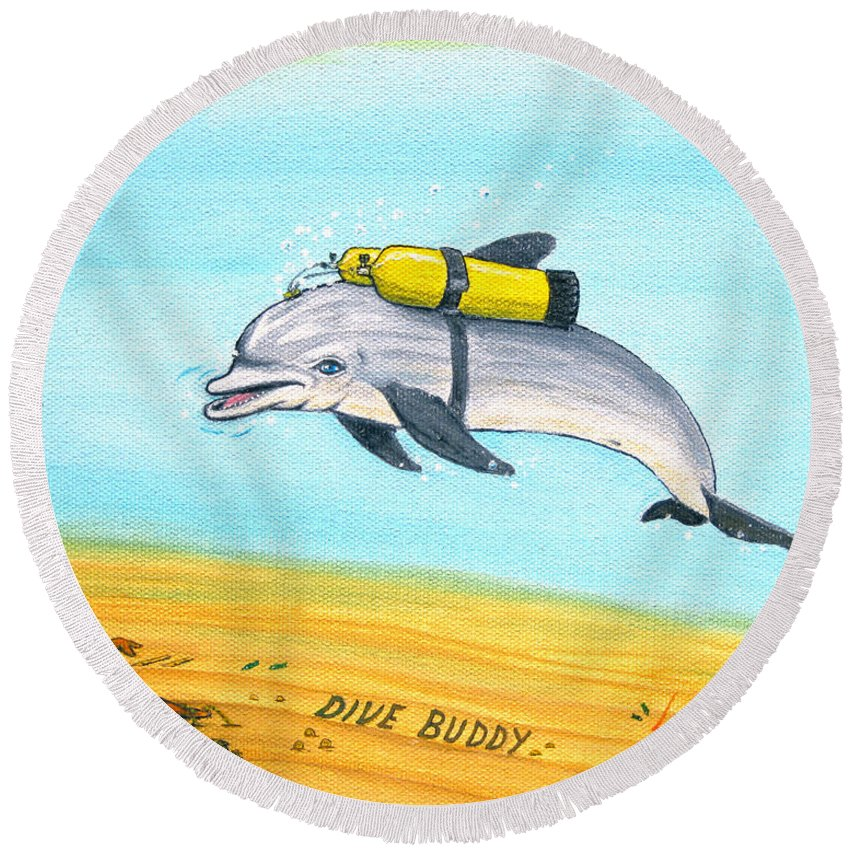Dive Round Beach Towel featuring the painting Dive Buddy by Jerome Stumphauzer