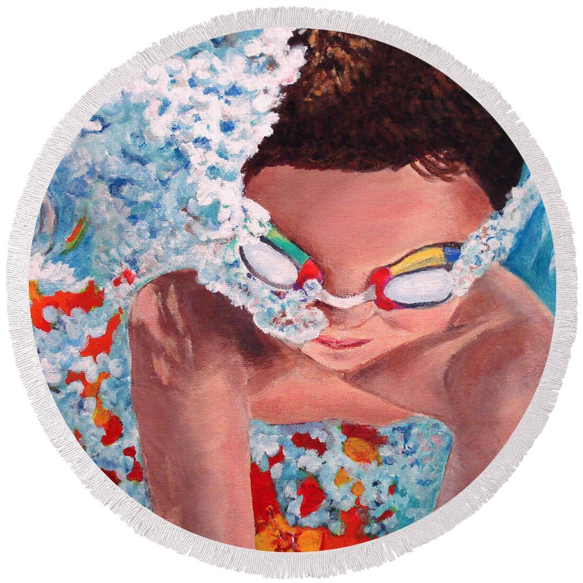 Swimming Round Beach Towel featuring the painting Dive In by Linda Queally