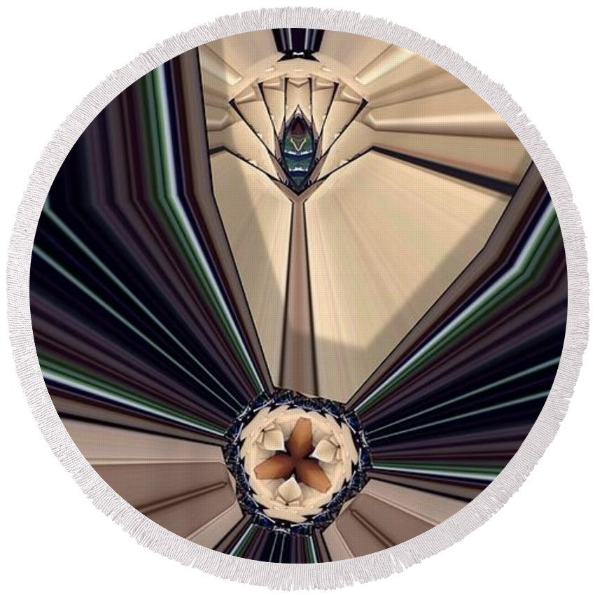 Abstract Round Beach Towel featuring the digital art Divergent by Ron Bissett
