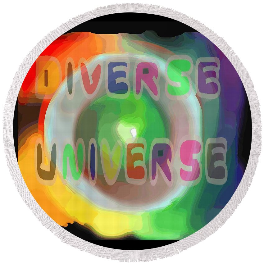 Diverse Round Beach Towel featuring the painting Diverse Universe by Pharris Art