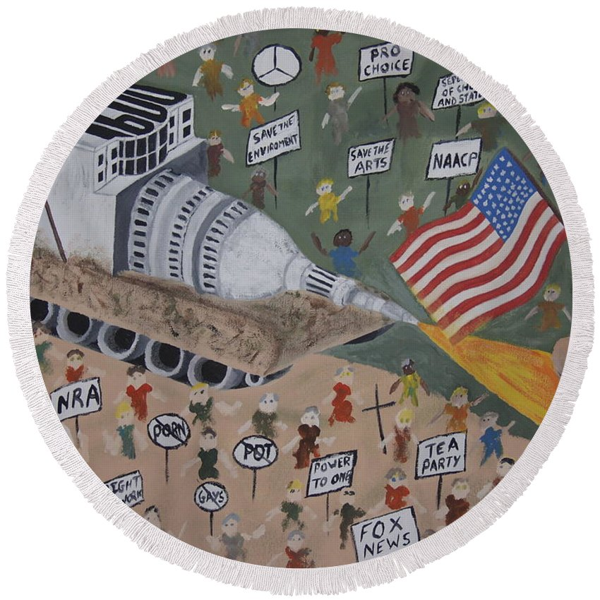 Political Satire Round Beach Towel featuring the painting Divided We Stand by Dean Stephens