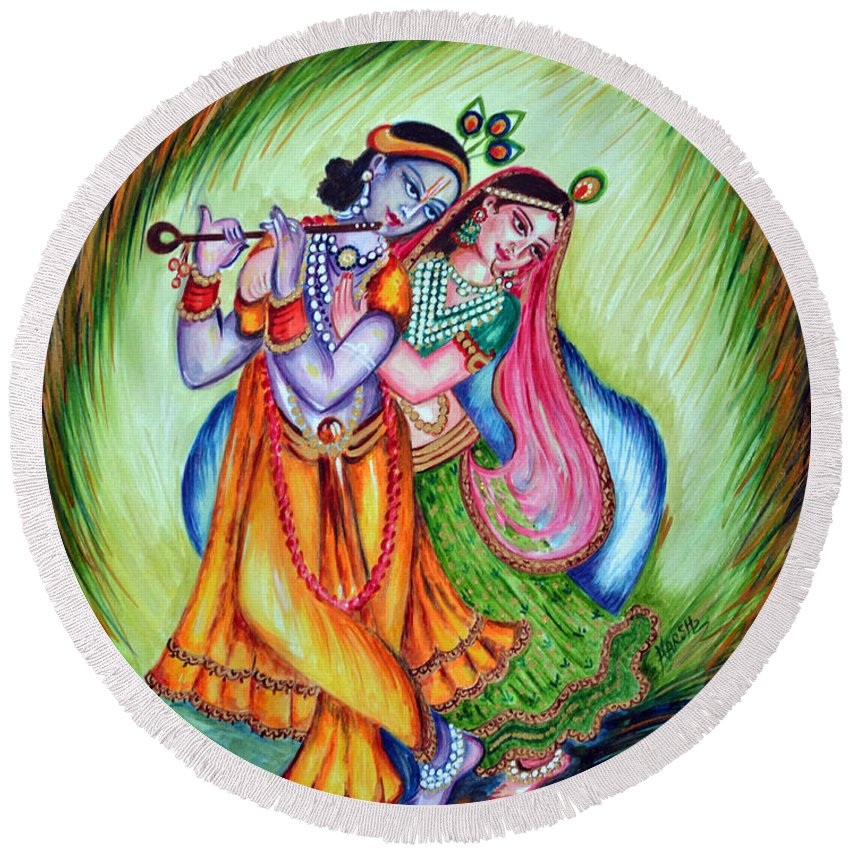 Krishna Round Beach Towel featuring the painting Divine Lovers by Harsh Malik