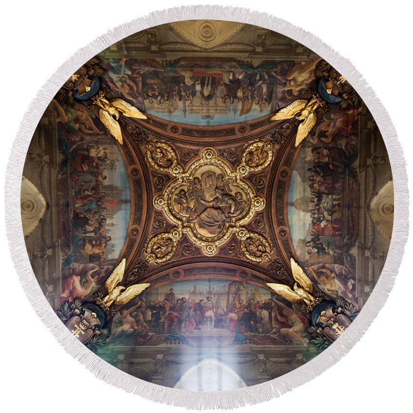 Louvre Round Beach Towel featuring the photograph Divinity by Aaron Aldrich