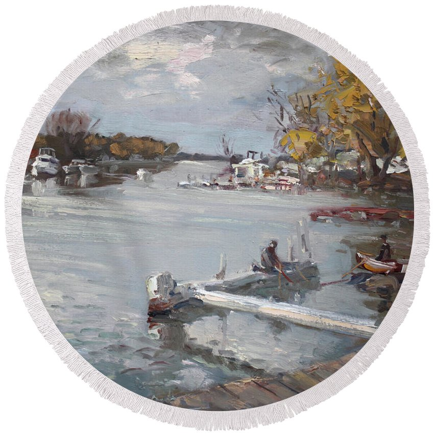 Dock Round Beach Towel featuring the painting Dock At The Bay North Tonawanda by Ylli Haruni