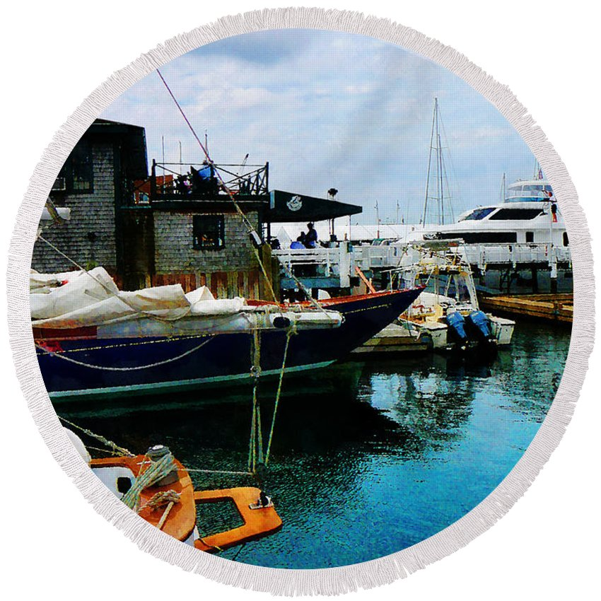 Boat Round Beach Towel featuring the photograph Docked Boats In Newport Ri by Susan Savad