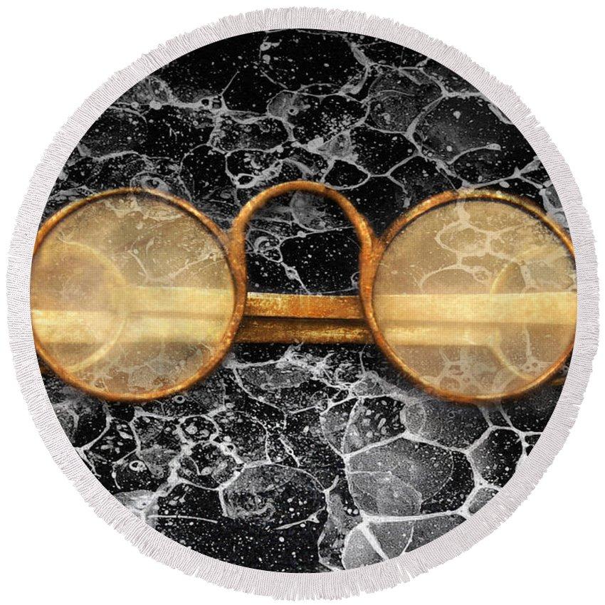 Suburbanscenes Round Beach Towel featuring the photograph Doctor - Optometrist - Glasses Sold Here by Mike Savad