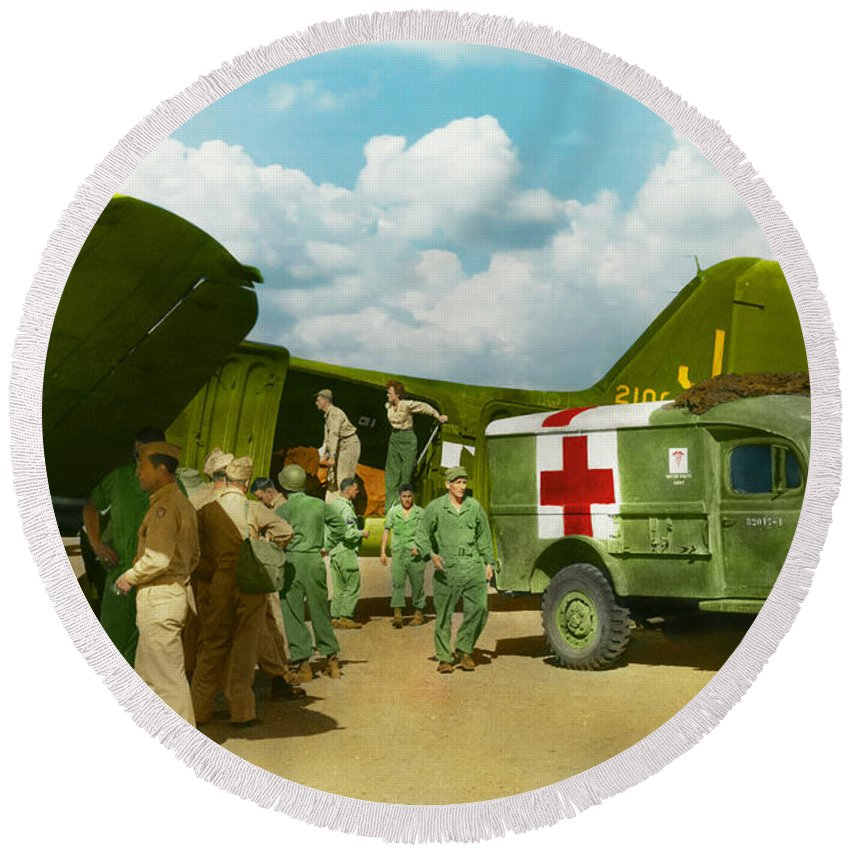 C-47 Round Beach Towel featuring the photograph Doctor - Transferring The Wounded by Mike Savad