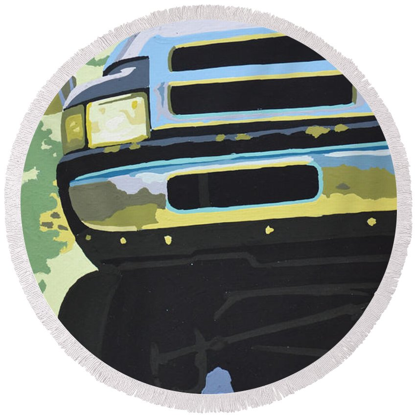 Dodge Round Beach Towel featuring the painting Dodge Ram With Green Hue by Paul Kuras