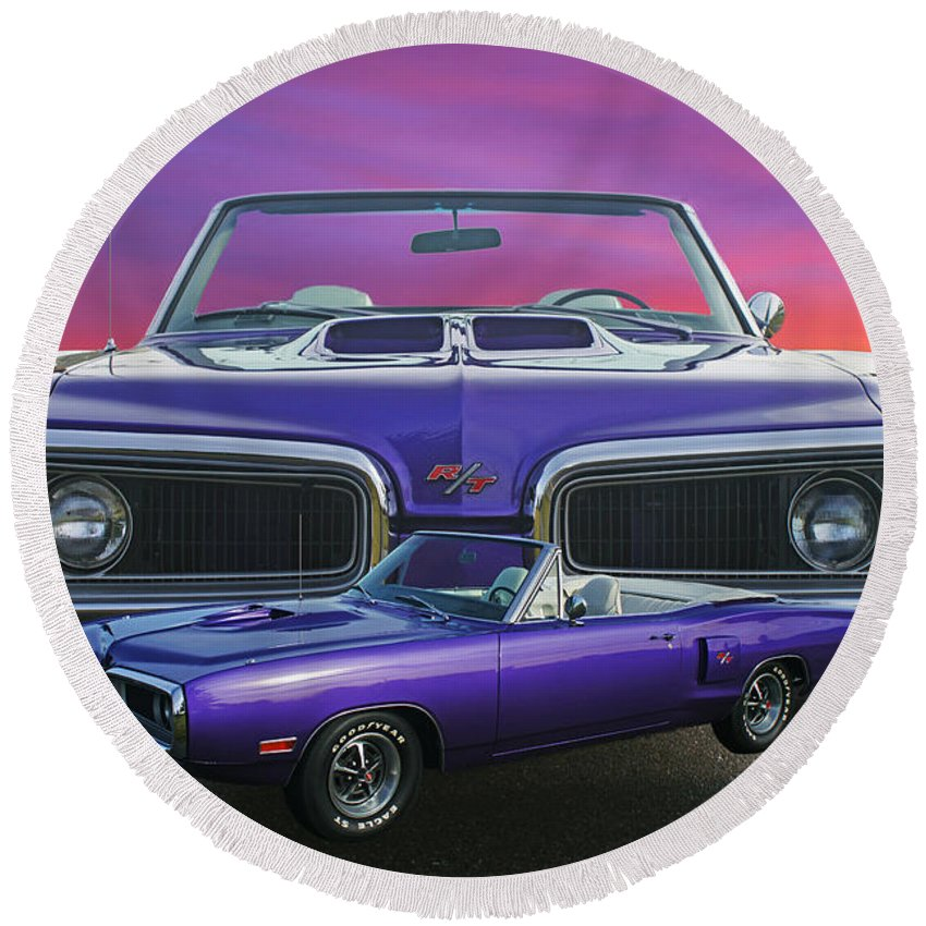 Cars Round Beach Towel featuring the photograph Dodge Rt Double Exposure Purple Sunset by Randy Harris