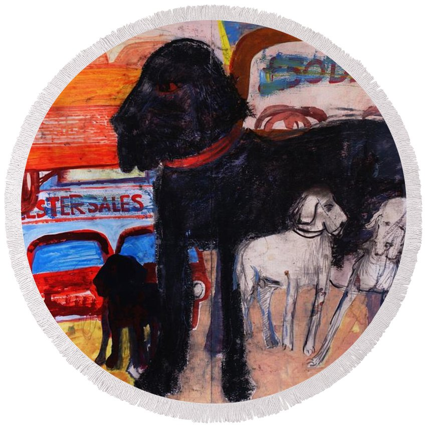 Black Round Beach Towel featuring the photograph Dog At The Used Car Lot, Rex Gouache On Paper by Brenda Brin Booker