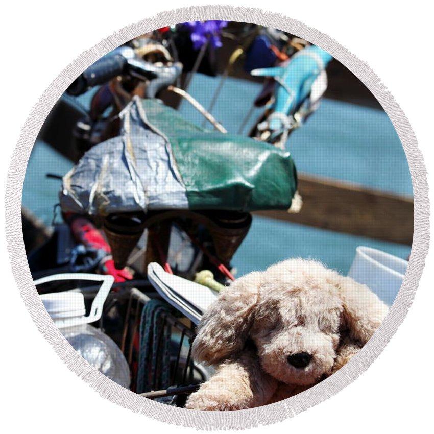 Dog Round Beach Towel featuring the photograph Dog Bike by Henrik Lehnerer
