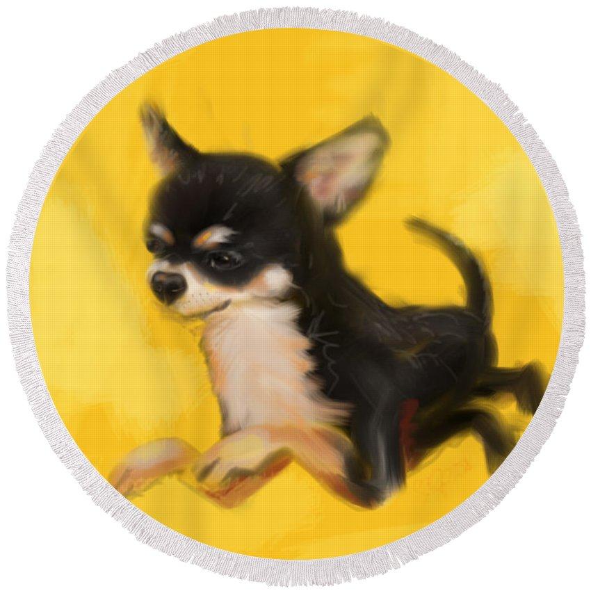 Chihuahua Round Beach Towel featuring the painting Dog Chihuahua Yellow Splash by Go Van Kampen