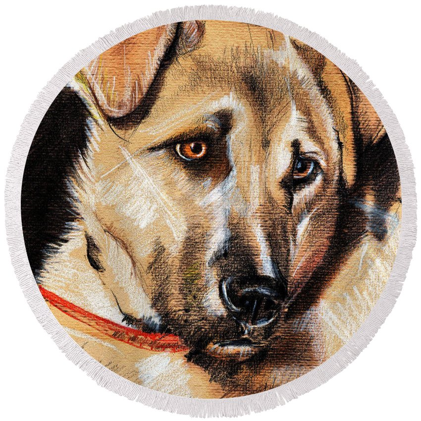 Pastel Round Beach Towel featuring the drawing Dog Portrait Drawing by Daliana Pacuraru