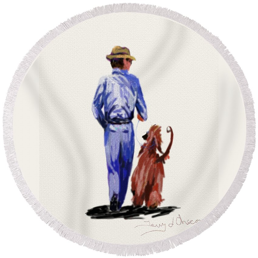 Ipad Paintings Round Beach Towel featuring the painting Dog Walker by Terry Chacon