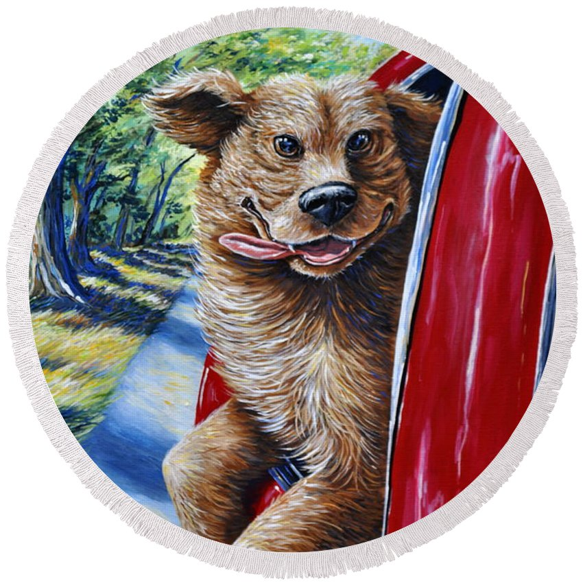 Animal Dog Car Pet Happy Ride Country Art Red Companion Friend Round Beach Towel featuring the painting Dog...gone Happy by Gail Butler