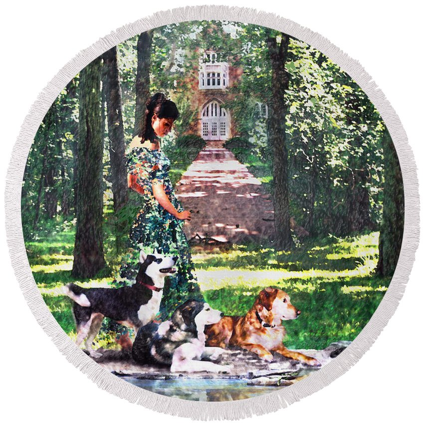 Landscape Round Beach Towel featuring the photograph Dogs Lay At Her Feet by Steve Karol