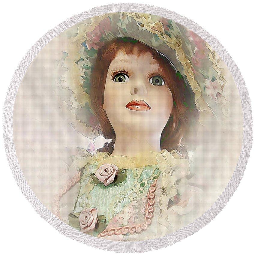 Miss. Doll Round Beach Towel featuring the painting Doll 624-12-13 Marucii by Marek Lutek