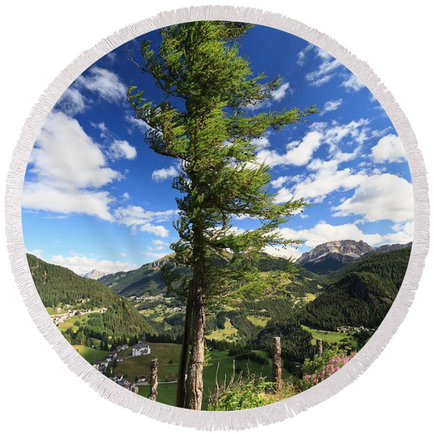 Alpine Round Beach Towel featuring the photograph Dolomites - Tree Over The Valley by Antonio Scarpi