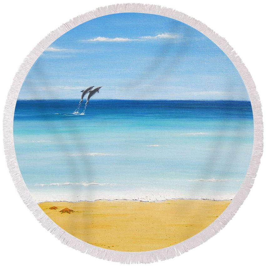 Dolphins Round Beach Towel featuring the painting Dolphin Beach by Jerome Stumphauzer