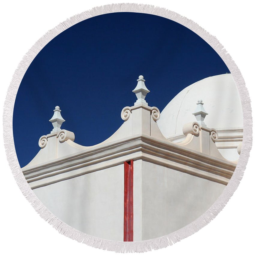 Mission San Xavier Del Bac Round Beach Towel featuring the photograph Dome At The Mission by Joe Kozlowski