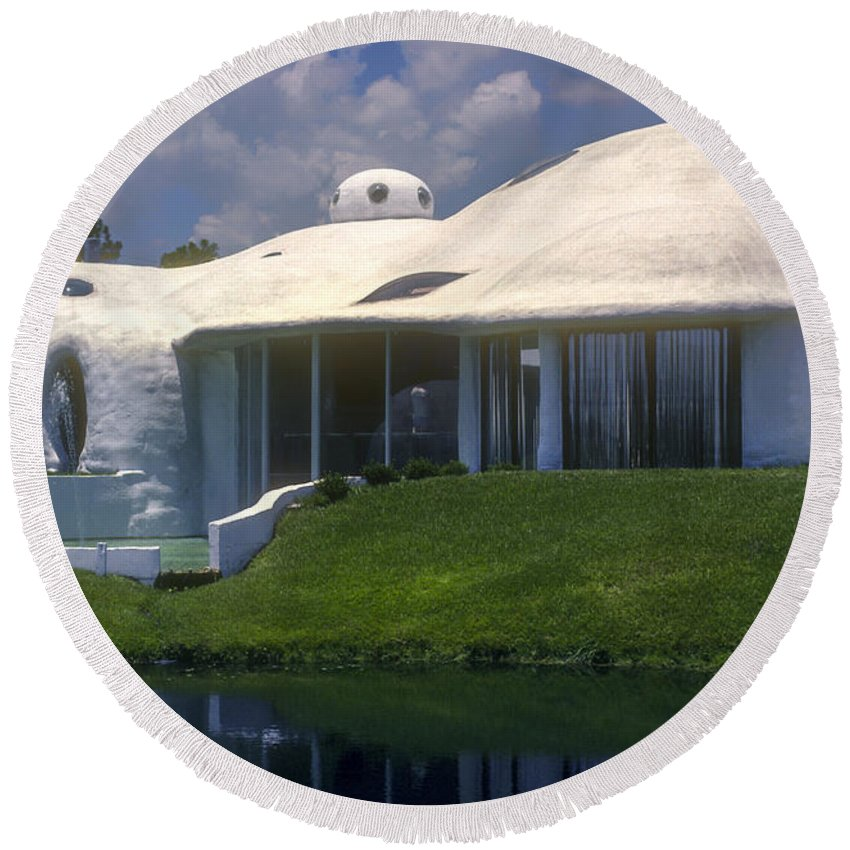 Kissimmee Florida Dome Domes Home Homes House Houses Building Buildings Structure Structures Pond Ponds Water Architecture Odds And Ends City Cities Cityscape Cityscapes Round Beach Towel featuring the photograph Dome Home by Bob Phillips