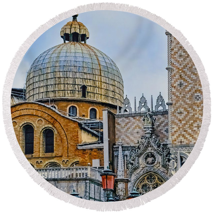 Architectural Round Beach Towel featuring the photograph Dome by Maria Coulson