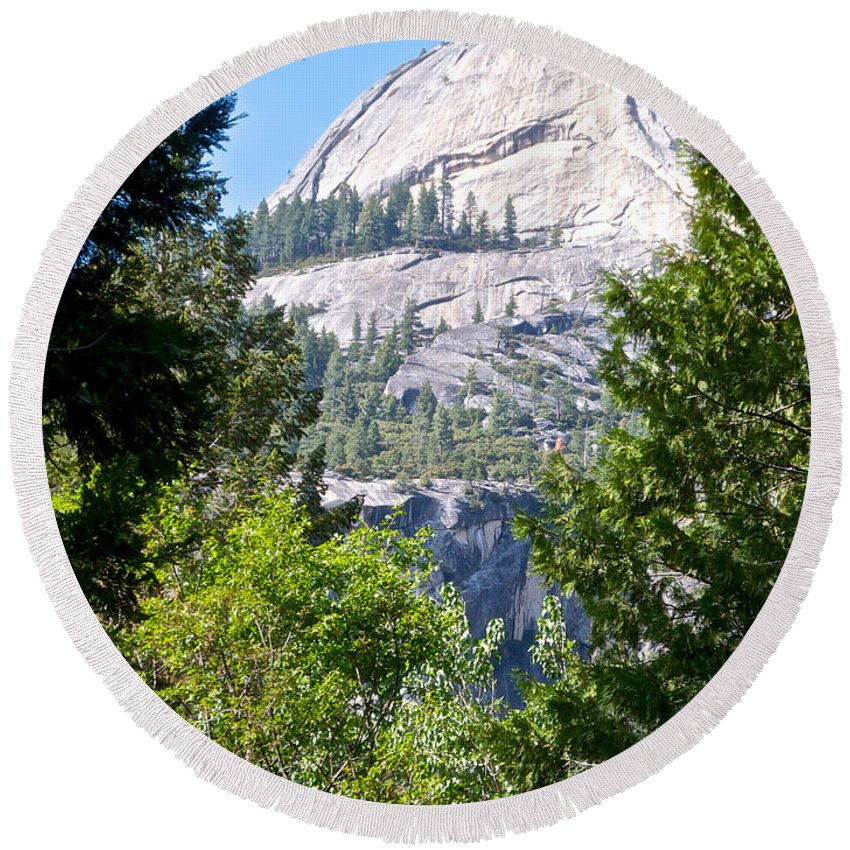 Dome Next To Half Dome Seen From Yosemite Valley Round Beach Towel featuring the photograph Dome Next To Half Dome Seen From Yosemite Valley-2013 by Ruth Hager
