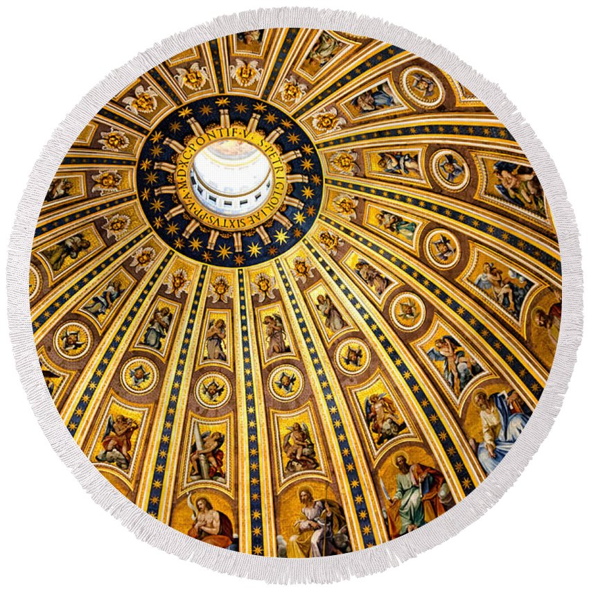 St Peters Round Beach Towel featuring the photograph Dome Of St Peter's Basilica Vatican City Italy by Jon Berghoff