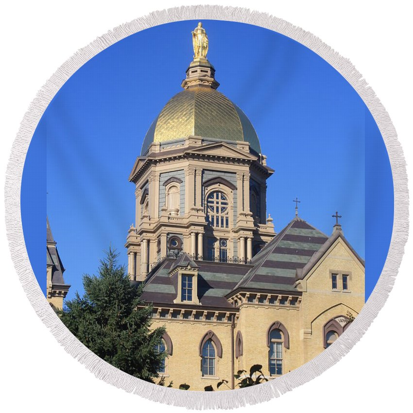Notre Dame University Indiana Northern Indiana College Campuses Round Beach Towel featuring the photograph Dome Under An Autumn Sky by Michael Cressy