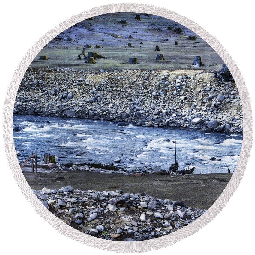 Stream Round Beach Towel featuring the photograph Dominion by Belinda Greb