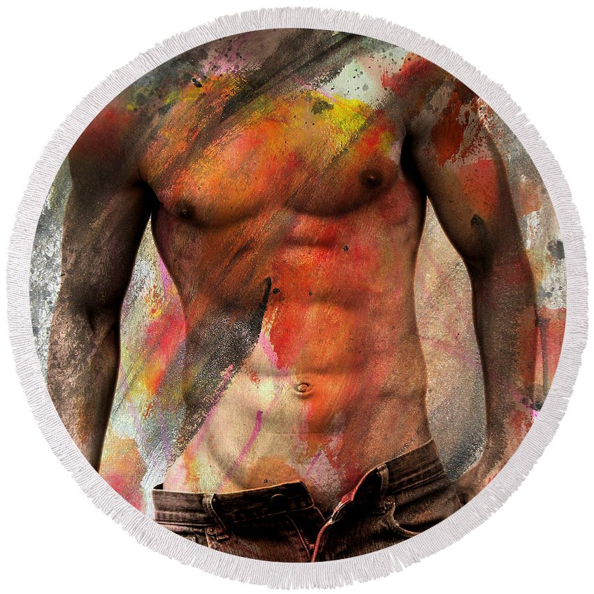Male Nude Round Beach Towel featuring the photograph Don't Explain by Mark Ashkenazi
