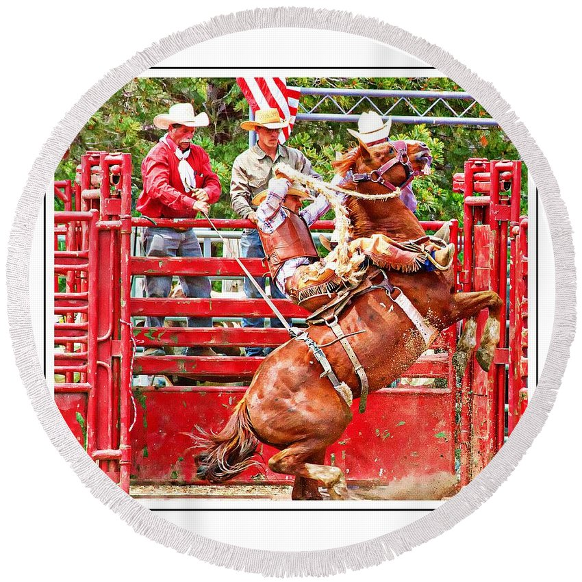 Bucking Bronc Round Beach Towel featuring the photograph Dont Go Over by Alice Gipson