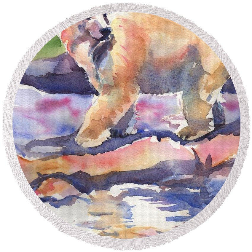 Polar Bear Watercolor Painting Round Beach Towel featuring the painting Don't Look Back by Maria's Watercolor
