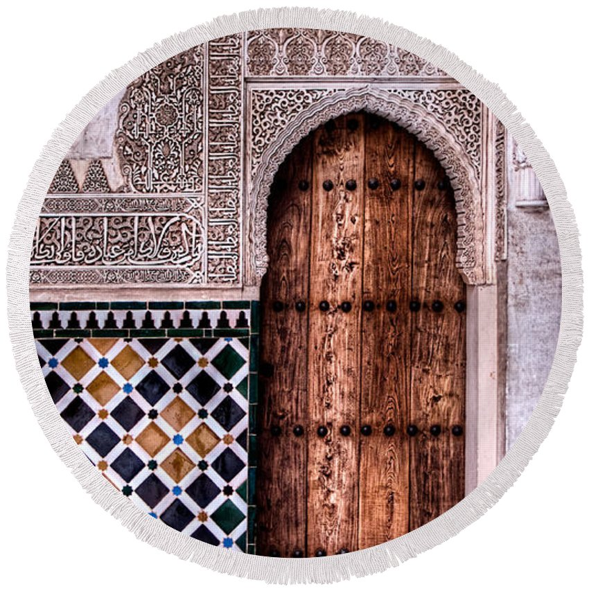 Alhambra Round Beach Towel featuring the photograph Door Of The Court Of The Myrtles 4 by Weston Westmoreland