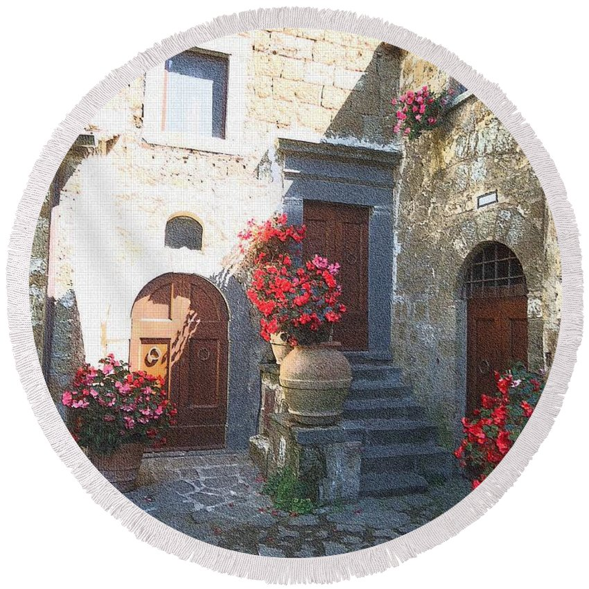 Piazza Round Beach Towel featuring the photograph Doors In Bagnoregio by Barbie Corbett-Newmin
