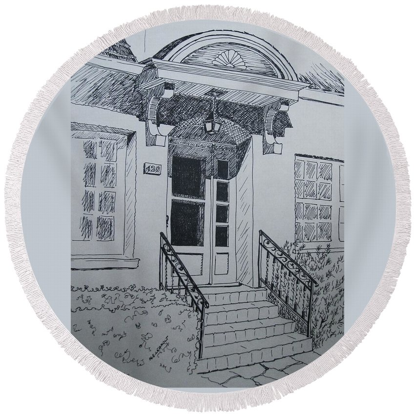 Pen And Ink Round Beach Towel featuring the drawing Doorway by Mary Ellen Mueller Legault