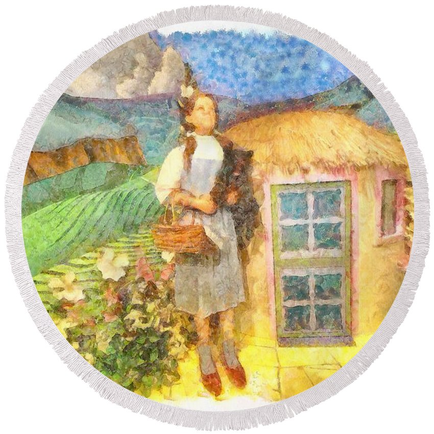 Dorothy And Toto Round Beach Towel featuring the painting Dorothy And Toto by L Wright