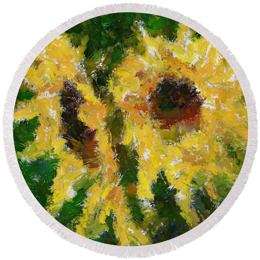 Still Life Round Beach Towel featuring the painting Dos by Dragica Micki Fortuna