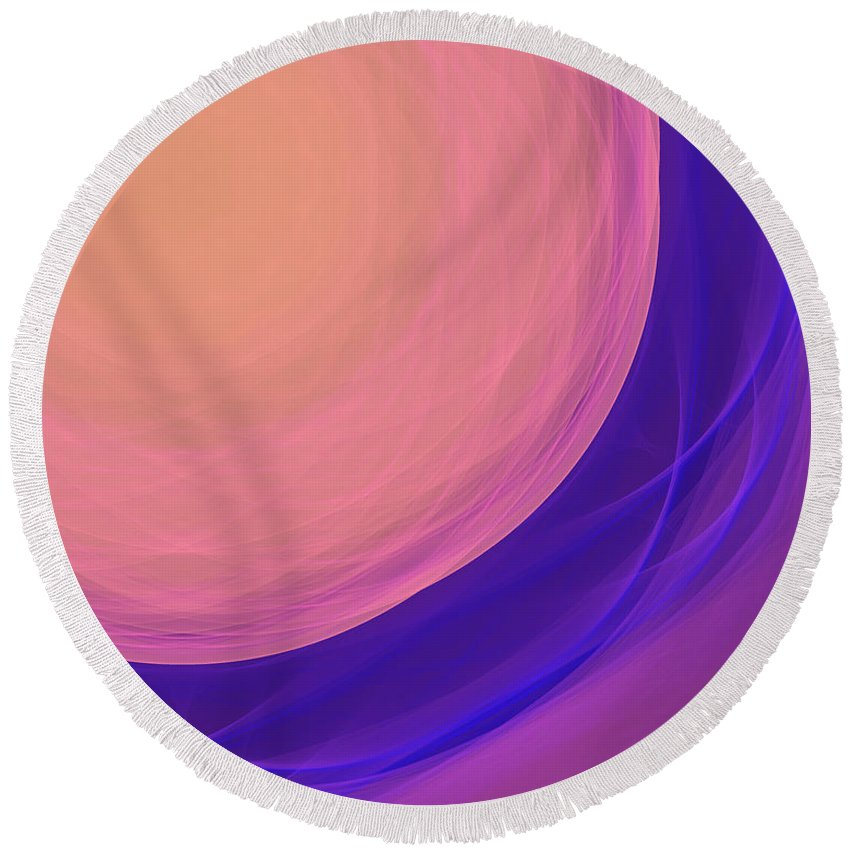 Psychology Round Beach Towel featuring the digital art Dot-02 by RochVanh