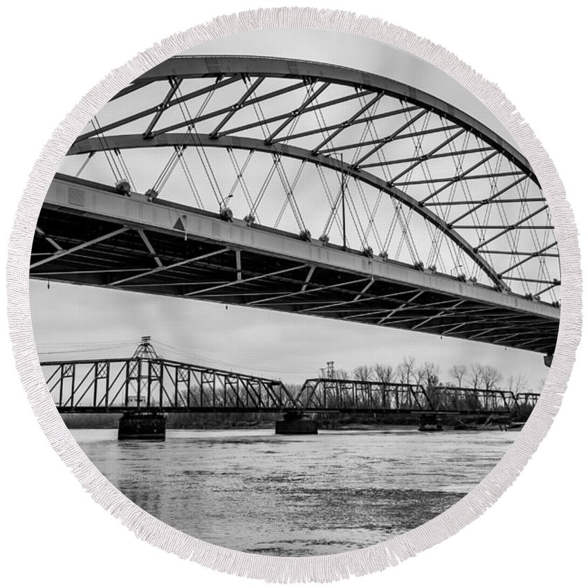 Bridge Round Beach Towel featuring the photograph Double Crossing by Mark McDaniel