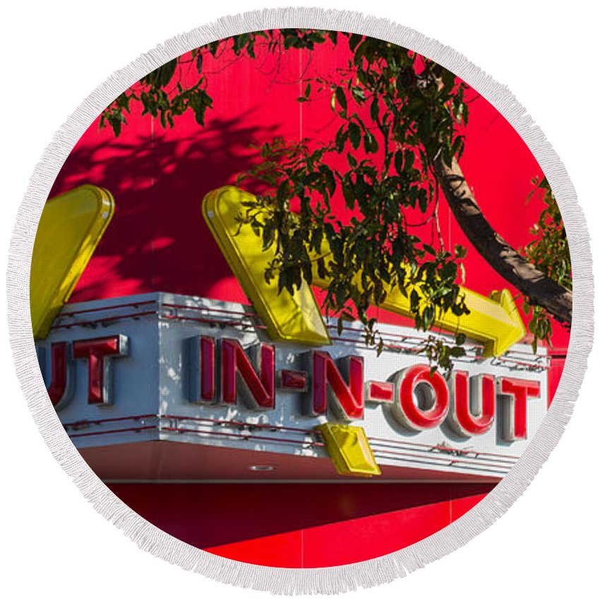 In-n-out Round Beach Towel featuring the photograph Double Double With Cheese Animal Style Yum by Scott Campbell