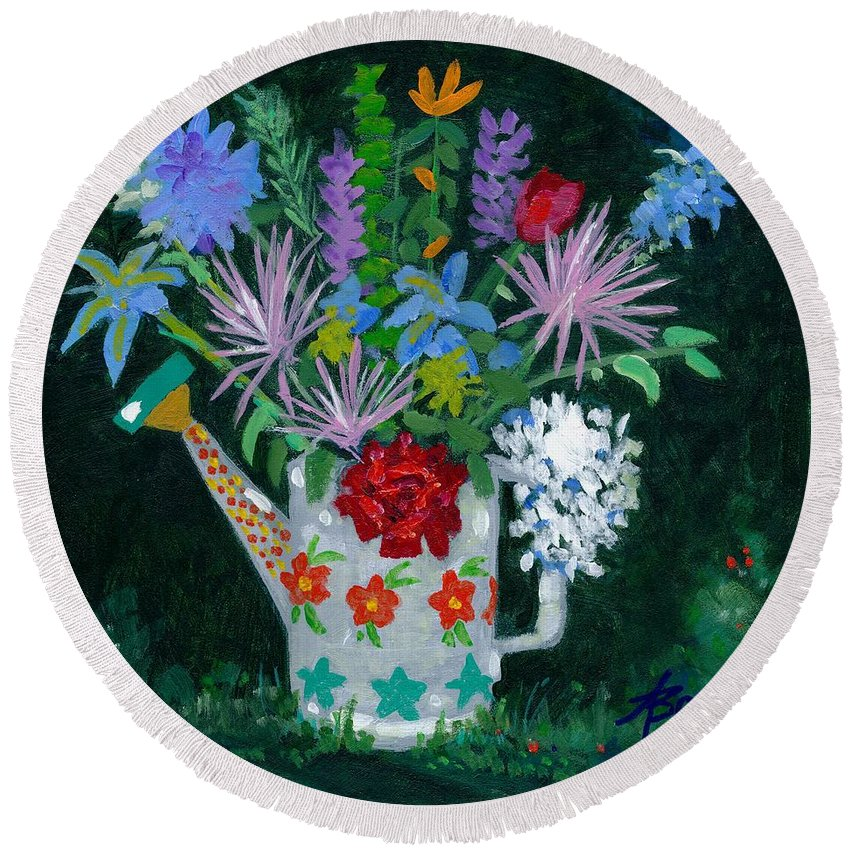 Flowers Round Beach Towel featuring the painting Double Duty by Adele Bower