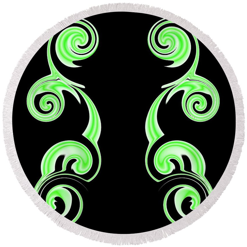 Swirl Round Beach Towel featuring the digital art Double Green Swirl by Ron Hedges